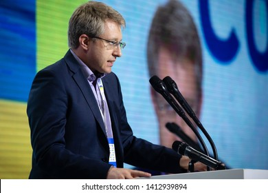 KYIV, UKRAINE - May 31, 2019: Journalist, TV presenter Vitaly Gaidukevich during the meeting of the European Solidarity Party
