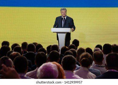 KYIV, UKRAINE - May 31, 2019: Ex-President of Ukraine and Chairman of the European Solidarity Party Petro Poroshenko during the meeting of the European Solidarity Party