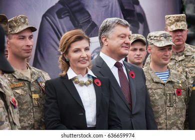 Kyiv, Ukraine, May 8 2017  President of Ukraine Petro Poroshenko and Marina  Poroshenko during a Victory Day celebrations in Museum of The History of Ukraine in World War II