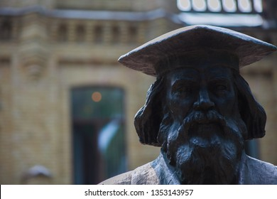Kyiv, Ukraine, National Tchnical University - January 1, 2019: Bronze statue to the famous scientist Dmitri Ivanovich Mendeleev, the author of the Periodic Table.