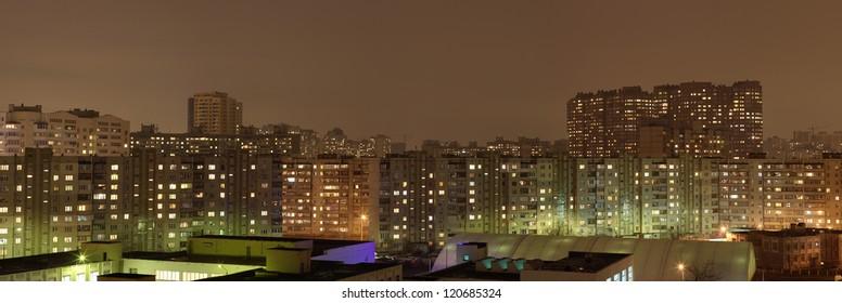 Kyiv, Ukraine night panorama (house view)