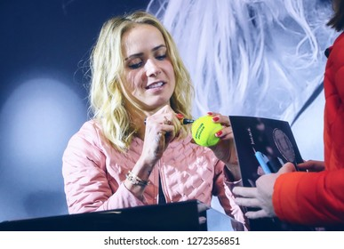 KYIV, UKRAINE - NOV 9, 2018: Ukrainian tennis player Elina Svitolina signing her autograph as she attends a meeting with her fans during an autograph session in Kyiv. Svitolina won WTA Finals in 2018