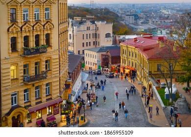 KYIV, UKRAINE - NOVEMBER 07, 2020: People walking by Andrew descent - famous tourist attraction in Kyiv. Kyiv is the capital of Ukraine