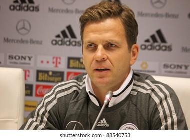 KYIV, UKRAINE - NOVEMBER 10: German national football team manager Oliver Bierhoff attends a press conference before friendly game against Ukraine on November 10, 2011 in Kyiv, Ukraine