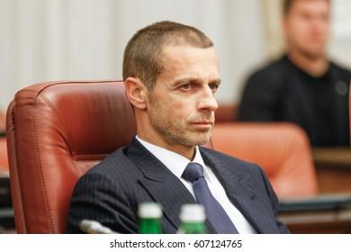 KYIV, UKRAINE - NOVEMBER 11, 2016: President of UEFA Alexander Cheferin in Kiev
