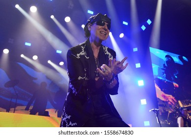 KYIV, UKRAINE - NOVEMBER 12, 2019: Vocalist Klaus Meine a Scorpions rock band gave a concert in the Kyiv Sports Palace within the Crazy World Tour