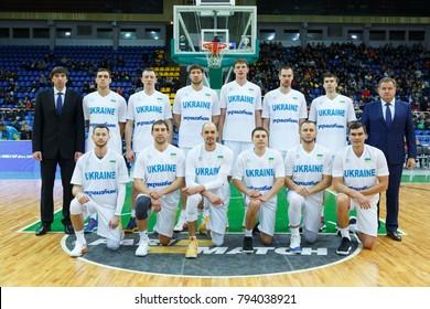 KYIV, UKRAINE - NOVEMBER 26, 2017: Ukrainian National Basketball team group photo. FIBA European Qualifiers World Cup 2019 Ukraine - Turkey.