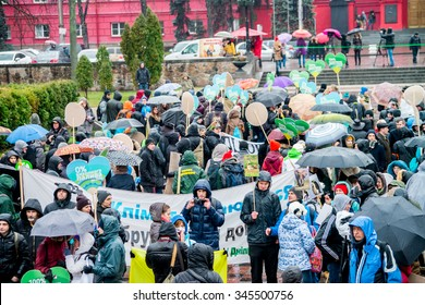 "KYIV, UKRAINE - NOVEMBER 29, 2015: Climatic march in Kyiv for the use of ecological technologies on a production. Slogan of march of ""Change system, but not climate!"""