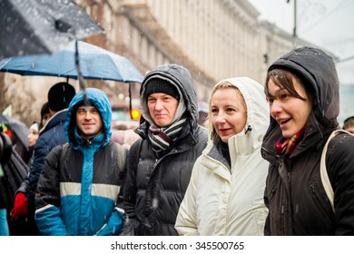 """KYIV, UKRAINE - NOVEMBER 29, 2015: Climatic march in Kyiv for the use of ecological technologies on a production. Slogan of march of """"Change system, but not climate!"""""""