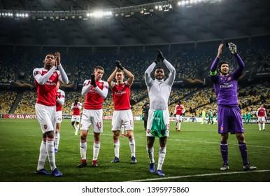 KYIV, UKRAINE - NOVEMBER 29, 2018: Arsenal players tnank their supporters after the UEFA Europa League game against Vorskla Poltava at NSC Olimpiyskyi stadium in Kyiv, Ukraine. Arsenal won 3-0
