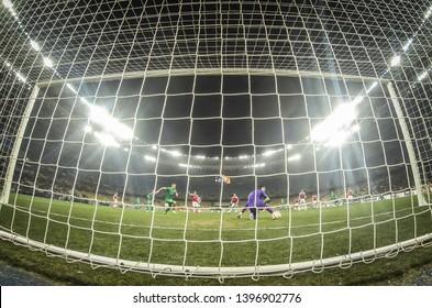 KYIV, UKRAINE - NOVEMBER 29, 2018: Goalkeeper Petr Cech of Arsenal in action during the UEFA Europa League game against Vorskla Poltava at NSC Olimpiyskyi stadium in Kyiv, Ukraine. Arsenal won 3-0