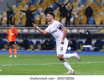KYIV, UKRAINE - NOVEMBER 3, 2020: Lars Stindl of Monchengladbach celebrates after scored a goal during the UEFA Champions League game against Shakhtar Donetsk at NSC Olimpiyskyi stadium in Kyiv