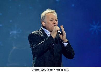 "KYIV, UKRAINE - NOVEMBER 30, 2017: Singer Oleg Shak during festival ""Rodyna"" named after Nazariy Yaremchuk"