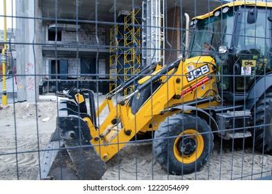 Kyiv, Ukraine - November 4, 2018: JCB Bulldozer tractor at a construction site.