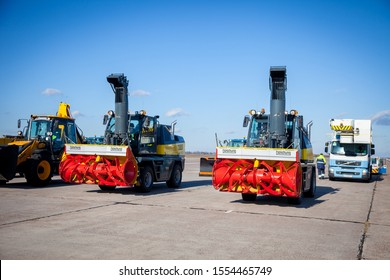 "Kyiv, Ukraine - November 5, 2019: Jetbroom BOSCHUNG. Snowplow ""Snowbooster B6"" airport division. Snowblow tractor - utility special vehicles. Cars for cleaning streets, roads and the airport from snow"