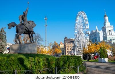 Kyiv, Ukraine - November 7, 2018: The Ferris wheel at the Kontraktova Square on Podil in the historical center of Kyiv, Ukraine