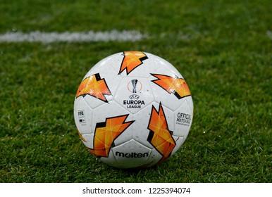 KYIV, UKRAINE – NOVEMBER 8, 2018: Official ball of the UEFA Europa League at the Olympic stadium