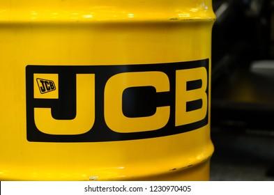Kyiv, Ukraine - November 8, 2018: JCB logo on barrel.