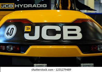 Kyiv, Ukraine - November 8, 2018: JCB logo on heavy machinery.