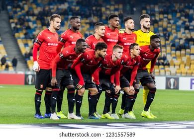 Kyiv, Ukraine - November 8, 2018: Stade Rennais team photo before the start of UEFA Europa League match against Dynamo Kyiv at NSC Olympic stadium in Kyiv, Ukraine.