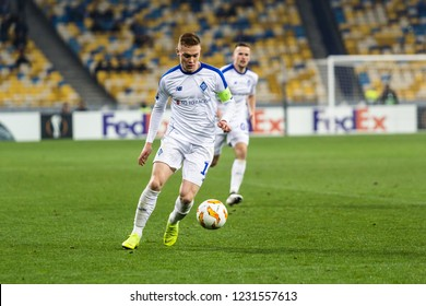 Kyiv, Ukraine – November 8, 2018: Viktor Tsygankov controls the ball during UEFA Europe League match Dynamo Kyiv – Stade Rennais at NSC Olympic stadium in Kyiv, Ukraine.
