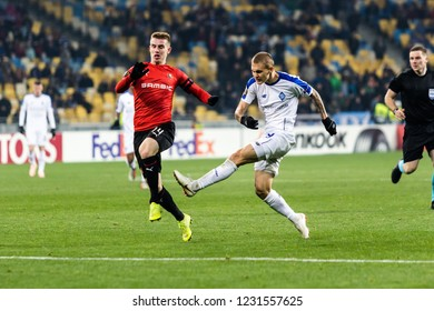 Kyiv, Ukraine – November 8, 2018: Vitaliy Buyalskiy shoots the ball during UEFA Europe League match Dynamo Kyiv – Stade Rennais at NSC Olympic stadium in Kyiv, Ukraine.