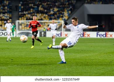 Kyiv, Ukraine – November 8, 2018: Vitaliy Mykolenko shoots the ball during UEFA Europe League match Dynamo Kyiv – Stade Rennais at NSC Olympic stadium in Kyiv, Ukraine.