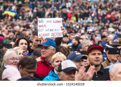 KYIV, UKRAINE - Oct. 06, 2019: Thousands ukrainians attend rally against signing of so-called Steinmeier Formula on the Independence Square in Kyiv, Ukraine