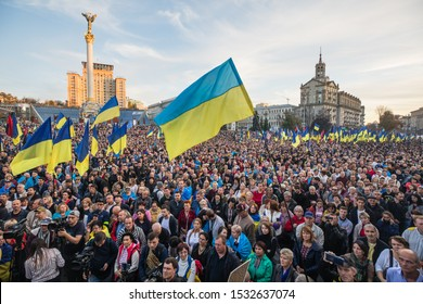 KYIV, UKRAINE - Oct. 14, 2019: Defender's Day of Ukraine. Thousands ukrainians attend rally against surrender on the Independence Square in Kyiv, Ukraine.