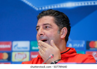 KYIV, UKRAINE - OCT 18, 2016: SL Benfica head coach Rui Vitoria during press conference day before UEFA Champions League game of Dynamo Kyiv vs Benfica Lisbon