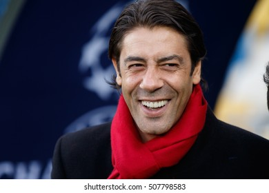 KYIV, UKRAINE - OCT 18, 2016: SL Benfica sporting director Rui Costa at the training team day before UEFA Champions League game of Dynamo Kyiv vs Benfica Lisbon