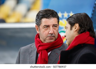 KYIV, UKRAINE - OCT 19, 2016: SL Benfica head coach Rui Vitoria during UEFA Champions League game of Dynamo Kyiv vs Benfica Lisbon at NSC Olimpiyskyi stadium
