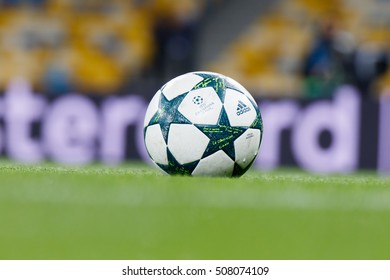KYIV, UKRAINE - OCT 19, 2016: Official UEFA Champions League 2016-2017 season matchball (Adidas) during UEFA Champions League game of Dynamo Kyiv vs Benfica Lisbon at NSC Olimpiyskyi stadium
