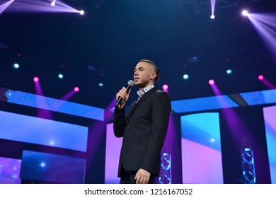 "KYIV, UKRAINE – OCTOBER 02, 2018: Ukrainian singer Taras Topolya during a performance at the concert ""Musical platform"" in the Palace ""Ukraine"""
