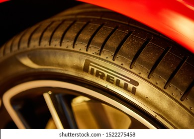 Kyiv, Ukraine - October 02, 2019: Logo Pirelli on the tire.