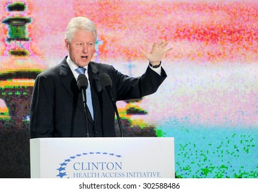 KYIV, UKRAINE - OCTOBER 03, 2010 : 42nd US President Bill Clinton during a public lecture in Kiev 3 October 2010