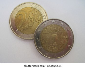 KYIV UKRAINE - OCTOBER 05, 2018: View of French two euro coin. France 2 euro - 2016 European Championship. Great for numismatic collection.