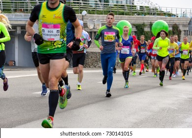 KYIV, UKRAINE - OCTOBER 08, 2017: Runners participate in Wizz Air Kyiv City Marathon 2017