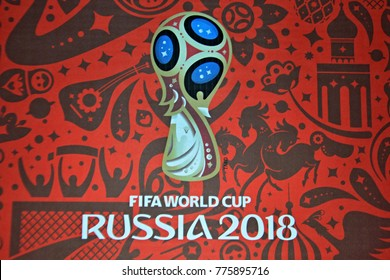 KYIV, UKRAINE - OCTOBER 09, 2017: Official logo FIFA World Cup 2018 in Russia printed on a red background canvas during game wich Croatia and Ukraine at NSC Olympic stadium in Kiev