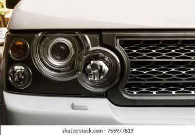 Kyiv, Ukraine - October 10, 2017: Range Rover Land Rover car headlight photo. Land Rover is a british automotive company specializing in the production of premium off-road vehicles.
