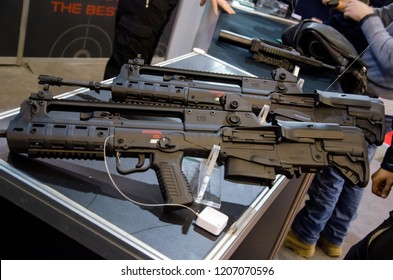 Kyiv, Ukraine - October 10, 2018: HS Produkt weapon.  International Exhibition ARMS AND SECURITY 2018