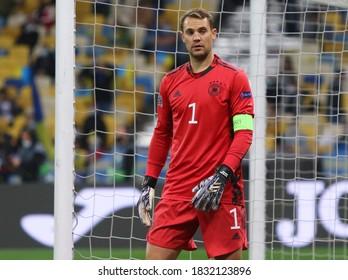 KYIV, UKRAINE - OCTOBER 10, 2020: Goalkeeper Manuel Neuer of Germany in action during the UEFA Nations League game against Ukraine at NSK Olimpiyskiy stadium in Kyiv. Germany won 2-1