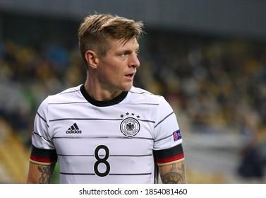 KYIV, UKRAINE - OCTOBER 10, 2020: Midfielder Toni Kroos of Germany in action during the UEFA Nations League game against Ukraine at NSK Olimpiyskiy stadium in Kyiv. Germany won 2-1