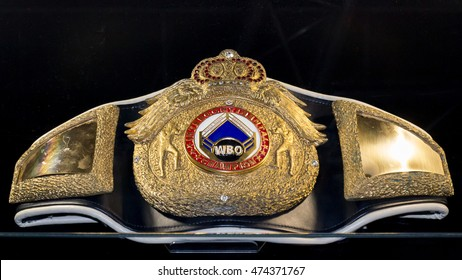 Kyiv, Ukraine - October 11, 2015: Boxing WBO championship belt Exhibition museum achievements Klitschko brothers in Kiev. Ukraine.