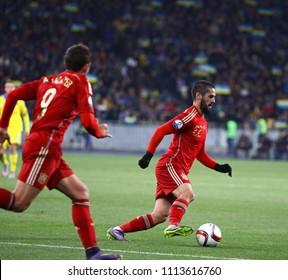 KYIV, UKRAINE - OCTOBER 12, 2015: Isco of Spain controls a ball during the UEFA EURO 2016 Qualifying game against Ukraine at NSK Olimpiyskyi stadium in Kyiv. Spain won 1-0