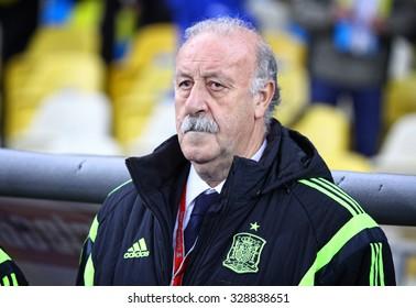 KYIV, UKRAINE - OCTOBER 12, 2015: Head coach of Spain National football team Vicente del Bosque looks on during UEFA EURO 2016 Qualifying game against Ukraine at NSK Olimpiyskyi stadium