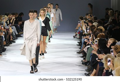 KYIV, UKRAINE - OCTOBER 12, 2016: Models walk runway at Elena BURENINA Spring/Summer 2017 presentation during 39th Ukrainian Fashion Week at Mystetskyi Arsenal in Kyiv, Ukraine