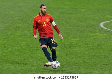 KYIV, UKRAINE - OCTOBER 13, 2020: Spain's captain Sergio Ramos reacts during the UEFA Nations League soccer match between Ukraine and Spain at the Olimpiyskiy Stadium in Kyiv