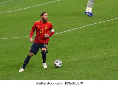 KYIV, UKRAINE - OCTOBER 13, 2020: Sergio Ramos of Spain in action during the UEFA Nations League game against Ukraine at NSK Olimpiyskiy stadium in Kyiv. Spain lost 0-1