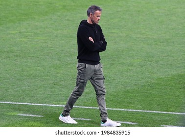 KYIV, UKRAINE - OCTOBER 13, 2020: Head coach Luis Enrique walks on during training session of Spain National Team before the UEFA Nations League game against Ukraine at NSK Olimpiyskiy stadium in Kyiv